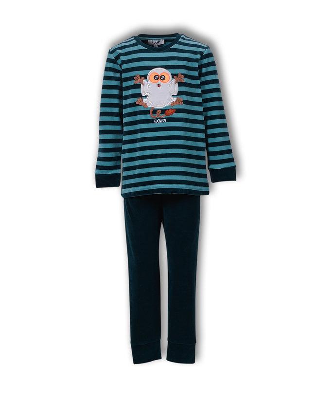 Woody Jongens-Heren pyjama, petrol gestreept