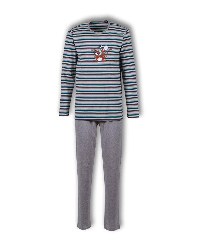 Woody Jongens-Heren pyjama, petrol-grijsblauw gestreept