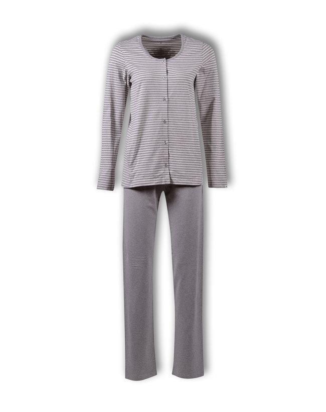 Woody Dames pyjama, gebroken wit-grijs melange gestreept