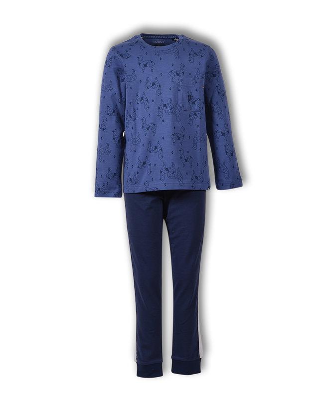 Woody Jongens-Heren pyjama, blauw alpaca all-over print
