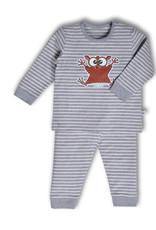 Woody Unisex pyjama, gebroken wit-grijs melange gestreept