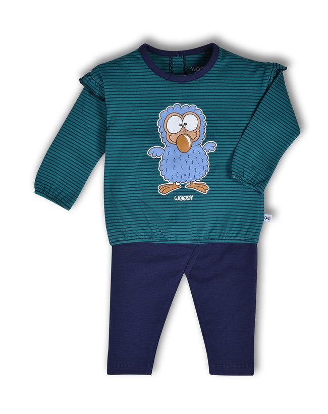 Woody Meisjes pyjama, donkerblauw-groen gestreept