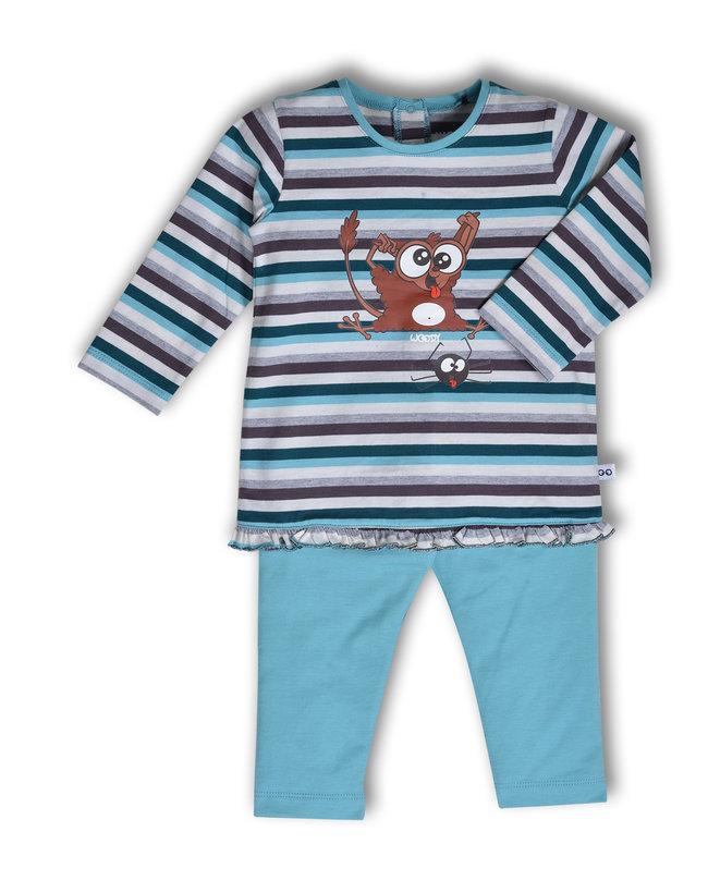 Woody Meisjes pyjama, petrol-grijsblauw gestreept