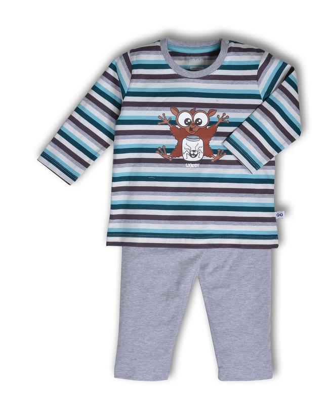 Woody Jongens pyjama, petrol-grijsblauw gestreept