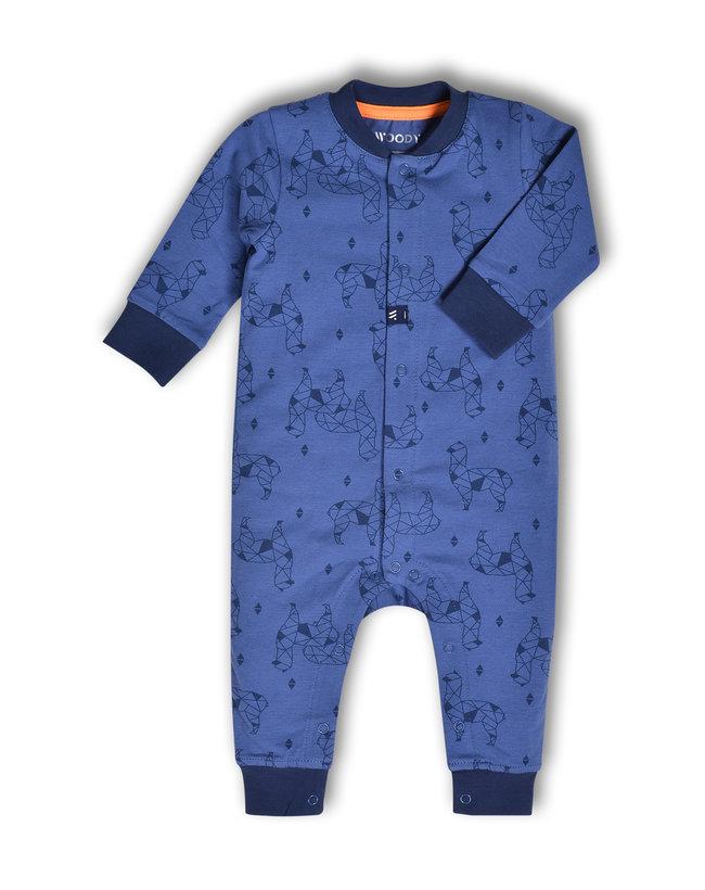 Woody Unisex Romper, blauw alpaca all-over print