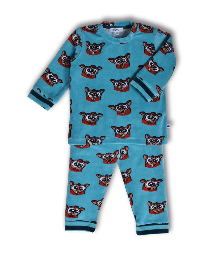 Woody Jongens pyjama, ijsblauw spookdier all-over print