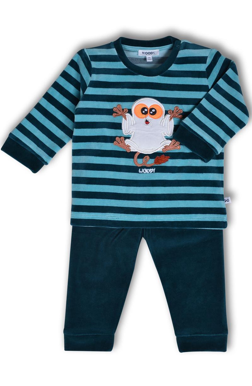 Woody Jongens pyjama, petrol gestreept