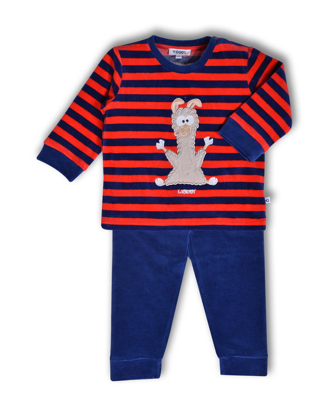 Woody Jongens pyjama, donkerblauw-rood gestreept