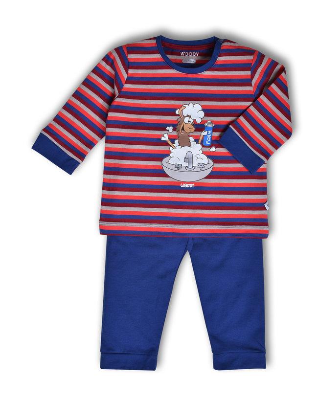 Woody Jongens pyjama, rood-blauw gestreept