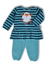 Woody Meisjes pyjama, petrol gestreept