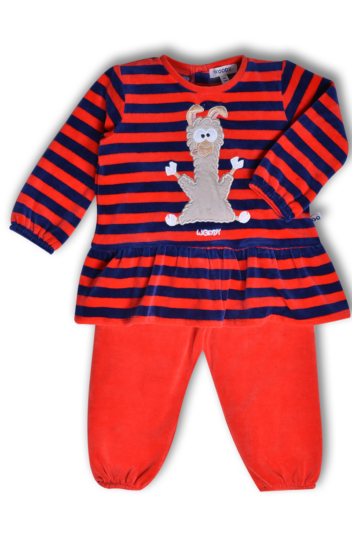 Woody Meisjes pyjama, donkerblauw-rood gestreept
