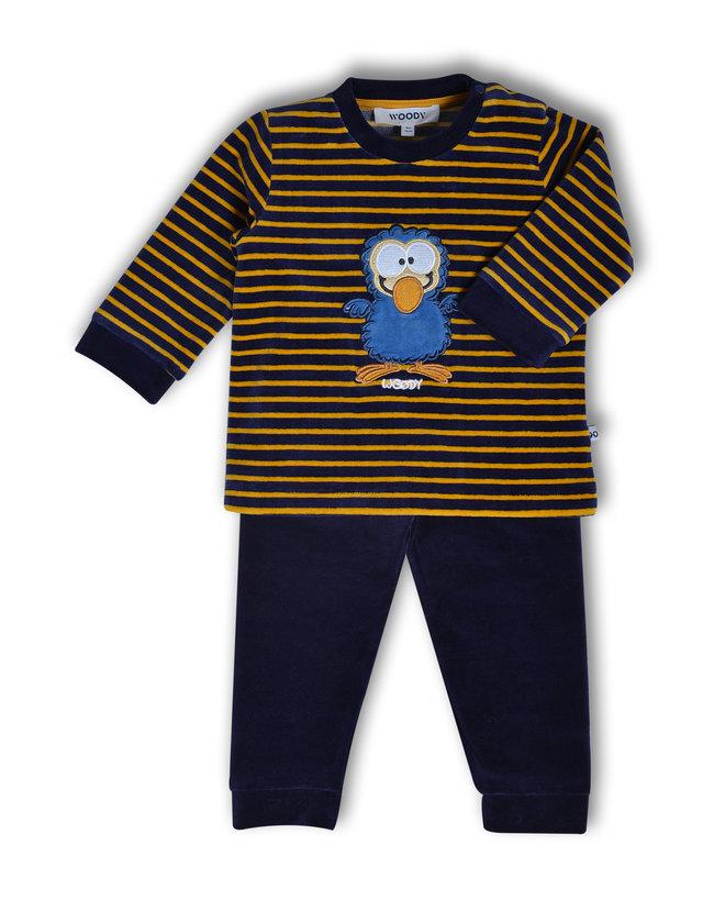 Woody Meisjes pyjama, donkerblauw-oker gestreept