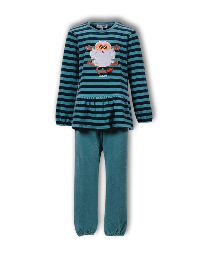 Woody Meisjes-Dames pyjama, petrol gestreept
