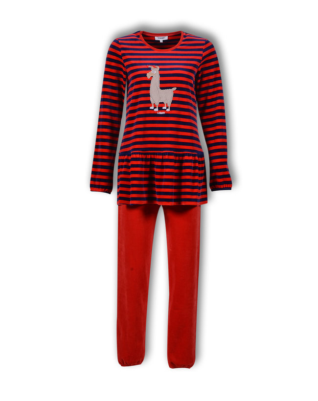 Woody Meisjes-Dames pyjama, donkerblauw-rood gestreept