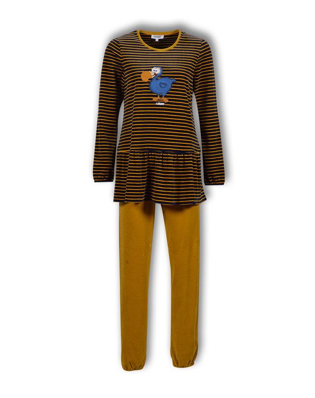 Woody Meisjes-Dames pyjama, donkerblauw-oker gestreept