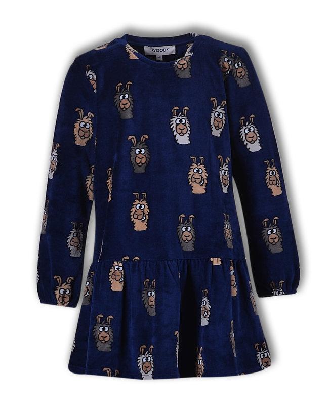 Woody Slaapkleed, donkerblauw alpaca all-over print