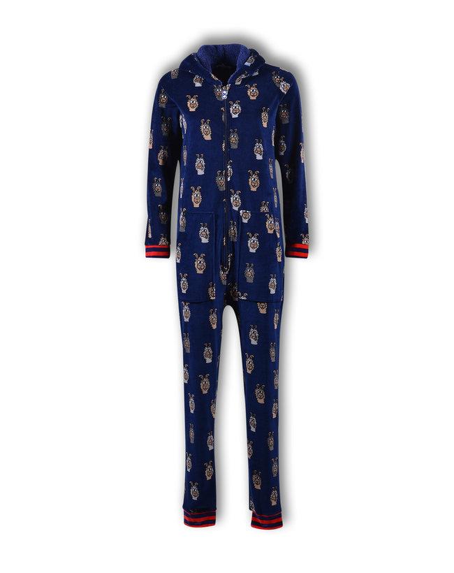 Woody Meisjes-Dames onesie, donkerblauw alpaca all-over print