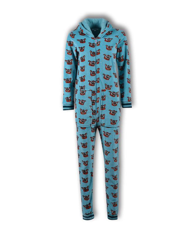 Woody Meisjes-Dames onesie, ijsblauw spookdier all-over print