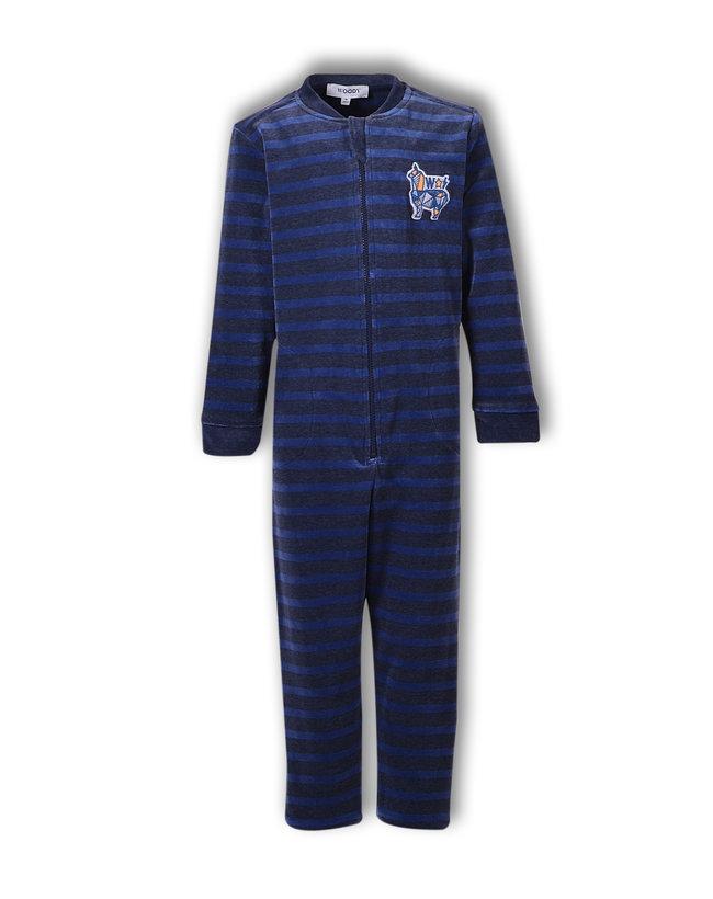 Woody Jongens onesie, blauw gestreept