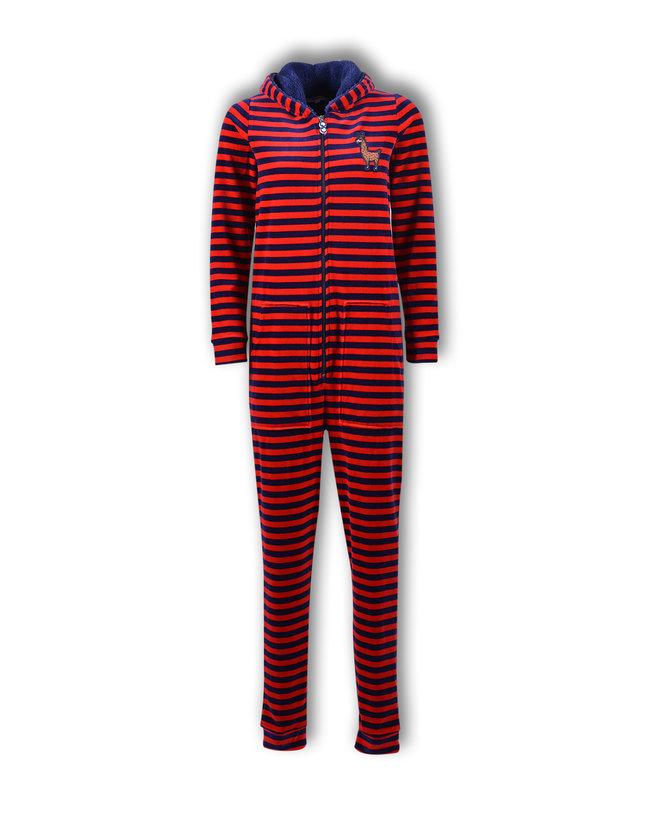 Woody Meisjes-Dames onesie, donkerblauw-rood gestreept