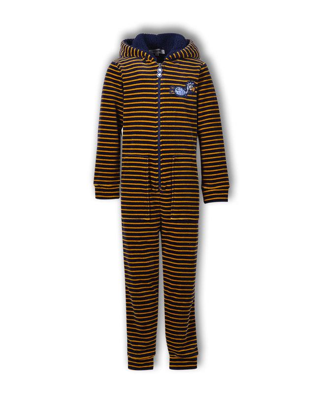 Woody Meisjes-Dames onesie, donkerblauw-oker gestreept