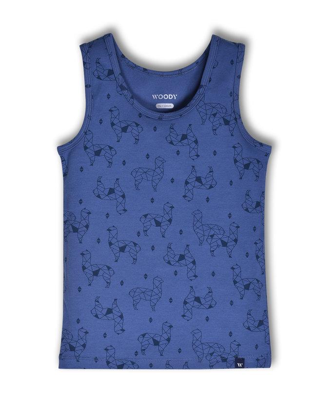 Woody Jongens singlet, blauw alpaca all-over print