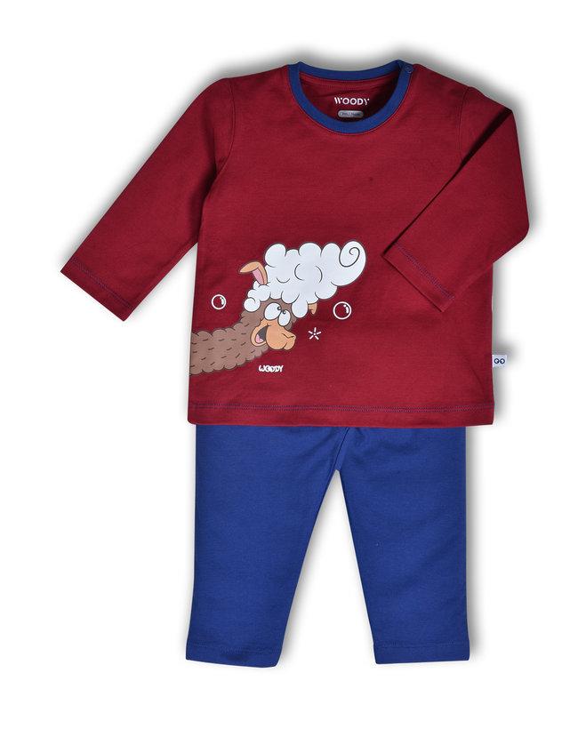 Woody Jongens pyjama, donkerrood
