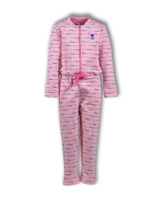 Woody Meisjes-Dames onesie, roze love all-over print
