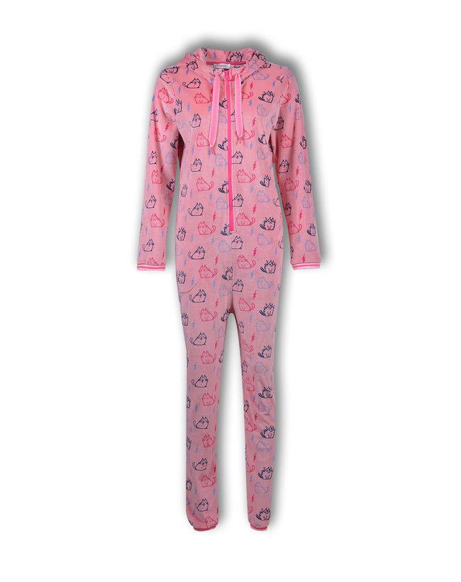 Woody Meisjes-Dames onesie, roze katjes all-over print