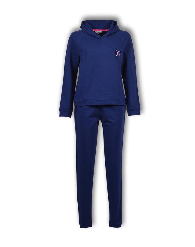 Woody Meisjes-Dames sweater en broek, donkerblauw