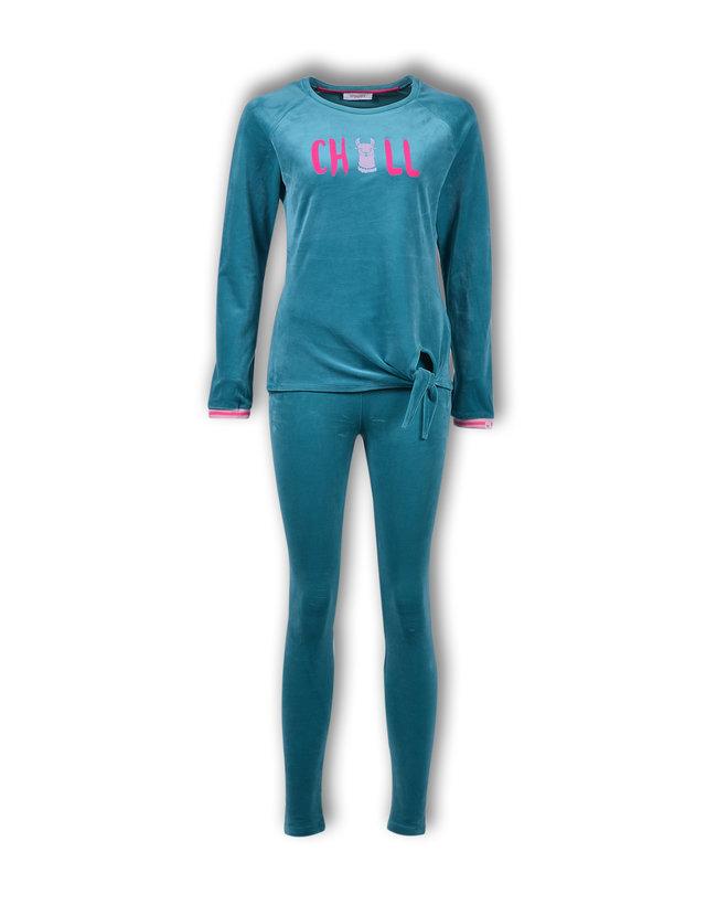 Woody Meisjes-Dames sweater en broek, blauwgroen