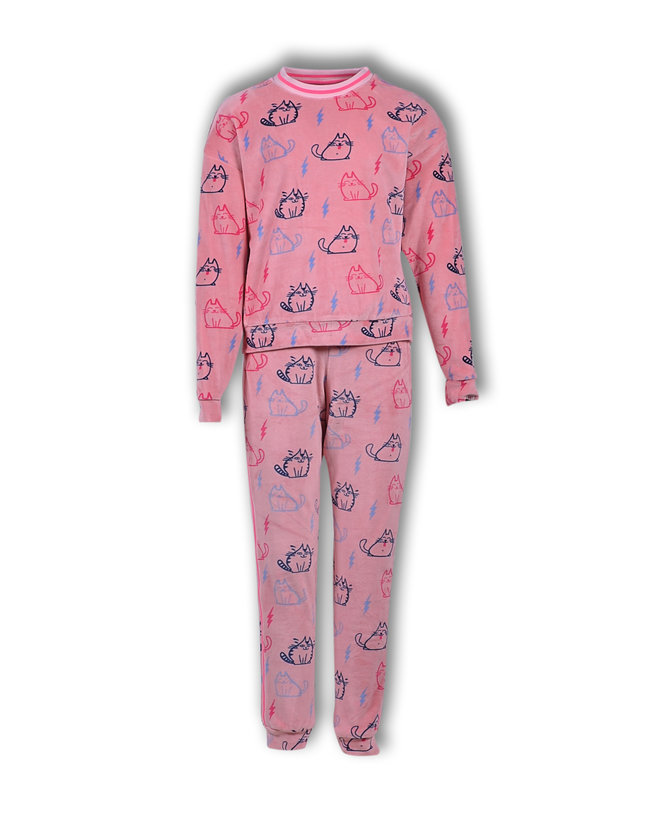 Woody Meisjes-Dames sweater en broek, roze katjes all-over print