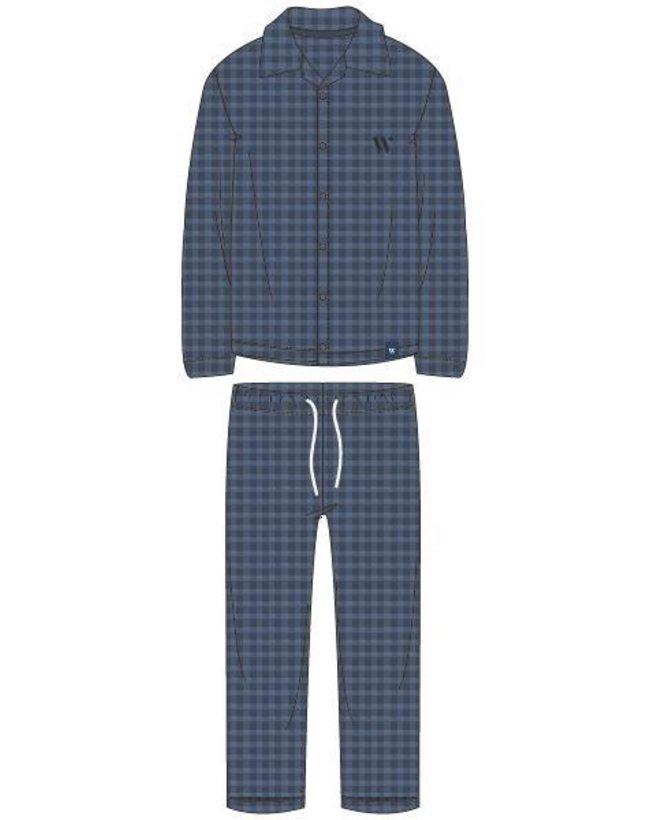 Woody Jongens-Heren pyjama, blauw geruit
