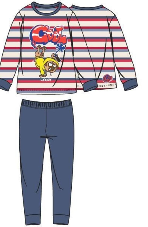Jongens-Heren pyjama, rood-blauw gestreept