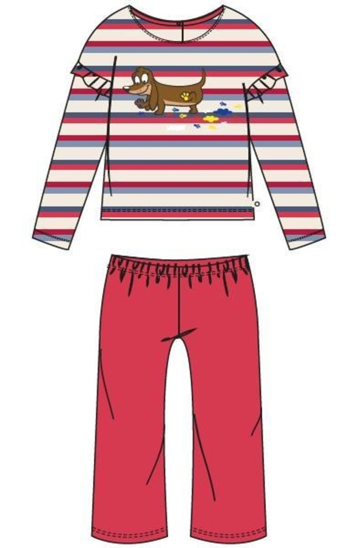 Meisjes pyjama, rood-blauw gestreept