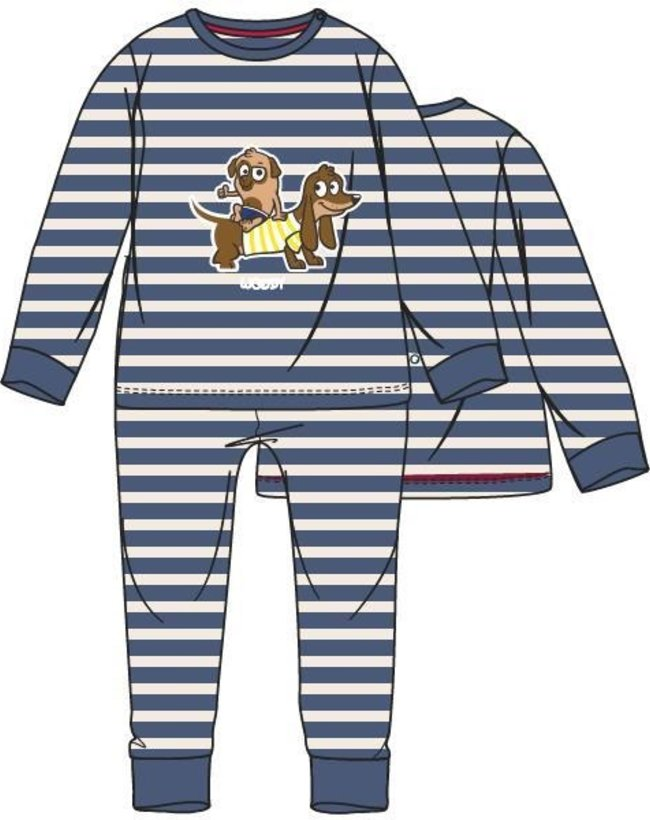 Woody Unisex pyjama, Marineblauw-wit gestreept