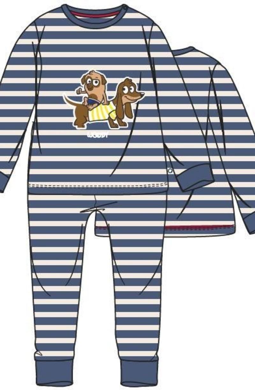 Unisex pyjama, Marineblauw-wit gestreept