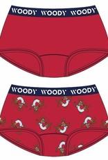 Woody Meisjes short, duo felrood + hond geprint