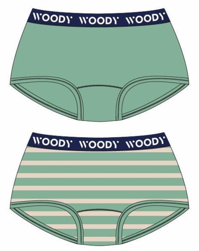 Woody Meisjes short, duo jadegroen + streep