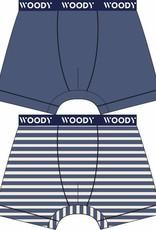 Woody Jongens short, duo marineblauw + streep