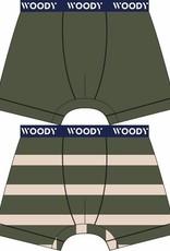 Woody Jongens short, duo donkergroen + streep
