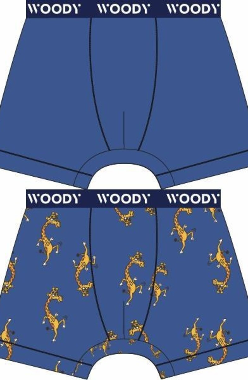 Woody Jongens short, duo koningsblauw + giraf geprint