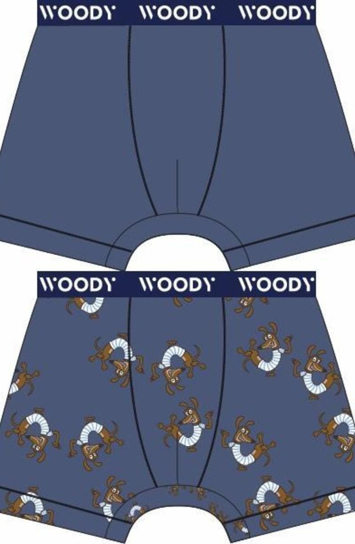 Woody Jongens short, duo marineblauw + hond geprint
