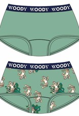 Woody Meisjes short, duo jadegroen + panter geprint