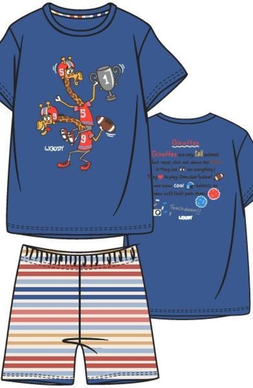 Woody Jongens-Heren pyjama, koningsblauw