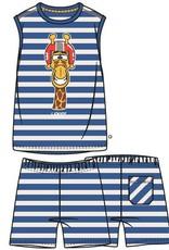 Woody Jongens-Heren pyjama, koningsblauw-wit gestreept