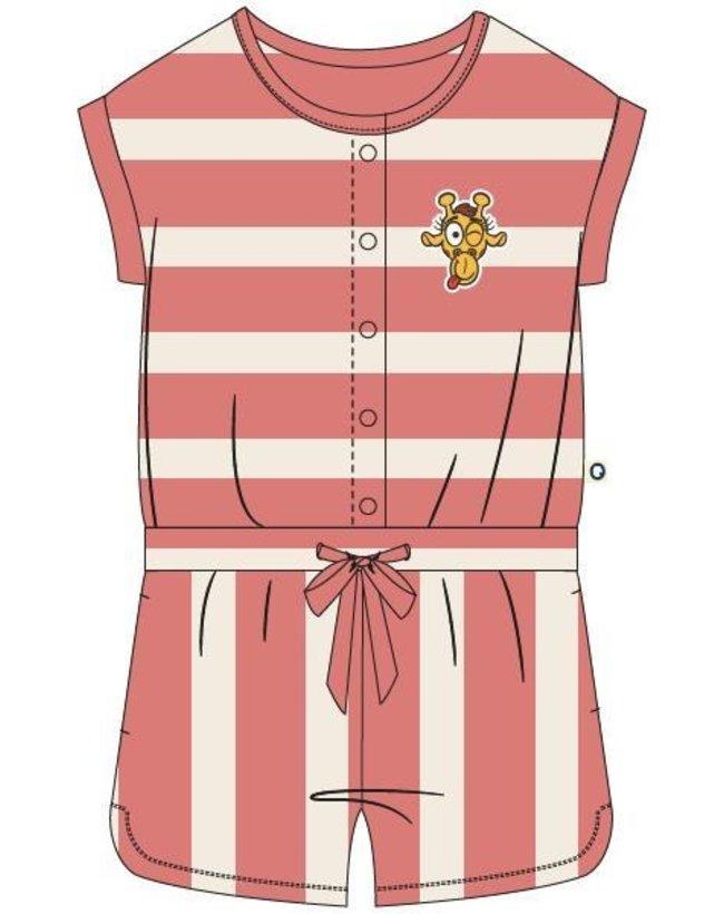 Woody Meisjes jumpsuit, koraal-wit gestreept