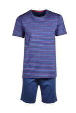 Woody Heren pyjama, Marineblauw-rood gestreept