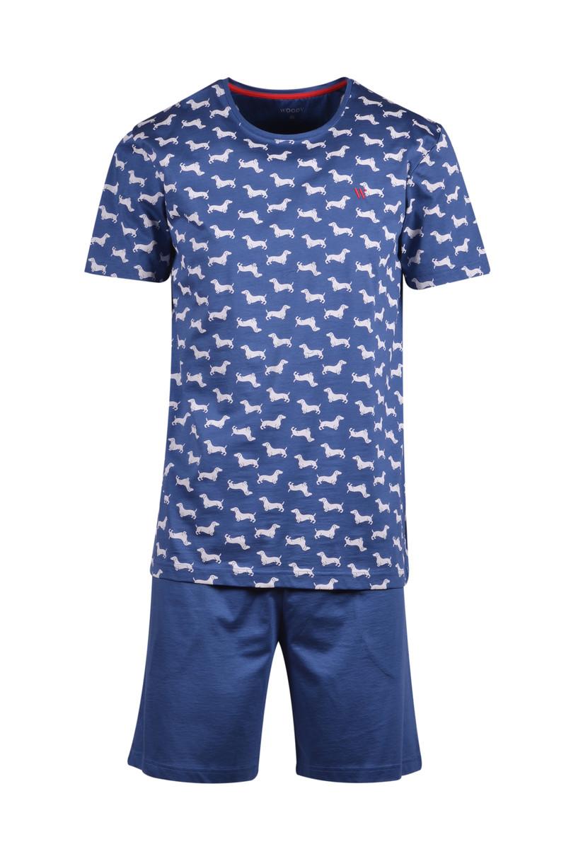 Woody Heren pyjama, marineblauw met hond