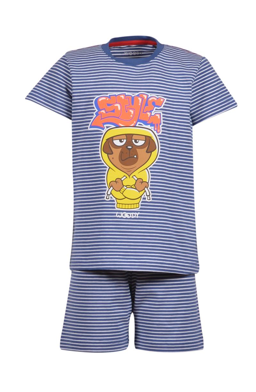 Woody Jongens-Heren pyjama, Marineblauw-wit gestreept